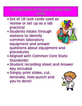 Lab Equipment Practical with Task Cards