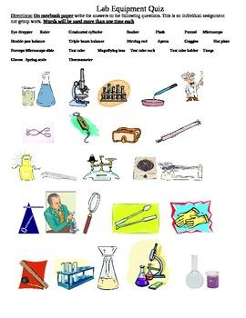 Lab Equipment Quiz by Ms Mac | Teachers Pay Teachers