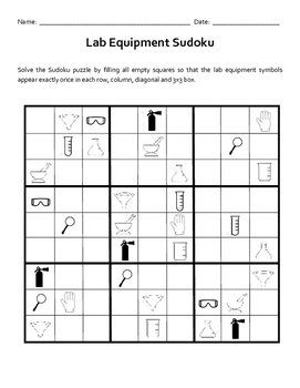 Lab Equipment Sudoku Puzzle