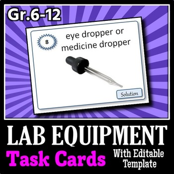 Lab Equipment - Task Cards {With Editable Template}