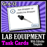 Lab Equipment - Task Cards {36 Cards with Editable Template}