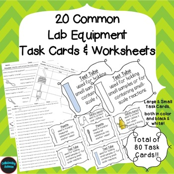 Lab Equipment  Task Cards and Worksheets