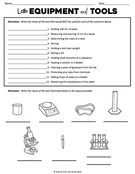 Lab Equipment and Tools Worksheet for Review or Assessment