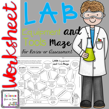 Lab Equipment and Tools Maze for Review or Assessment