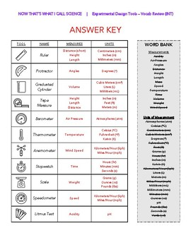 Lab / Experiment Measurement Tools - Vocabulary Review (Intermediate)