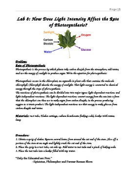 light intensity affecting photosynthesis