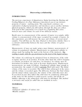 Lab Investigation: Discovering a Relationship - Density