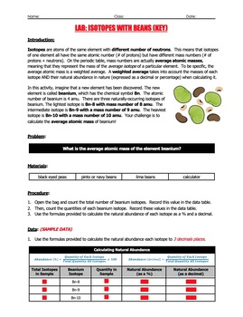 Lab - Isotopes With Beans (Calculating Percent Abundance & Average Atomic Mass)