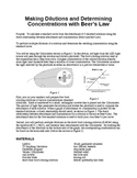 Lab -- Making Dilutions and Determining Concentrations using Beer's Law