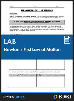 Lab - Newton's First Law of Motion - Investigating Inertia and Unbalanced Forces