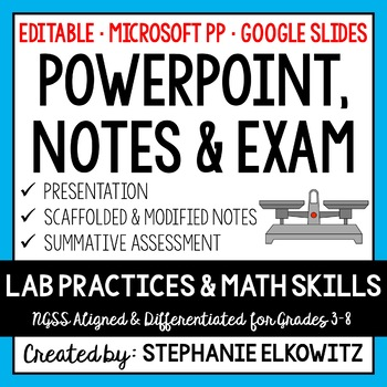 Lab Safety, Tools and Skills PowerPoint, Notes & Exam