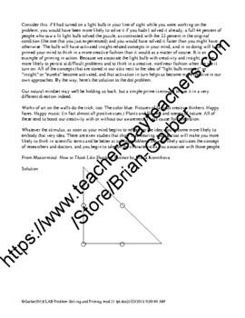 Psychology Lab Problem Solving and Priming