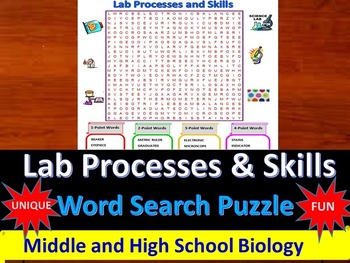 Lab Processes and Skills- a fun & unique Word Search Puzzle (Grades 7-12)