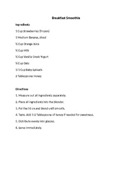 Lab Recipe Example By Culinary Classroom Resources