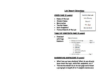 Lab Report Directions