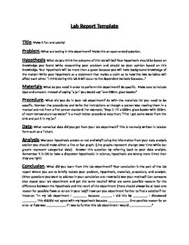 Lab Report Explanation and Template