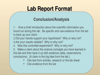 science lab conclusion template