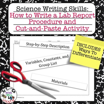 Lab Report Writing How to Write a Procedure and Cut and Paste Activity