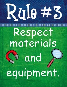 Science Lab Rules posters - Blue Green