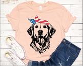 Lab SVG Labrador USA Bandana mask United States Flag Head Dog 4th July 1374s