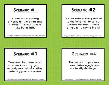 Lab Safety Cause Effect 16 Scenarios Worksheet + Individual Card Formats