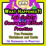 Lab Safety Cause Effect 16 Scenarios Worksheet + Individua