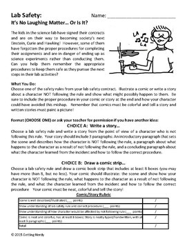 Lab Safety Comic or Story Activity - Scientific Method