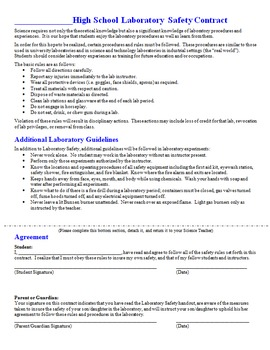 Lab Safety Contract for Science Laboratories- Lab Safety Guidelines