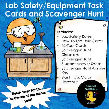 Lab Safety/Equipment Task Cards and Scavenger Hunt