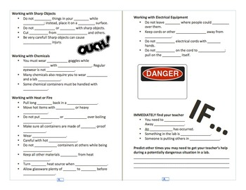 Lab Safety Fill in the Blank Notes {FREE}