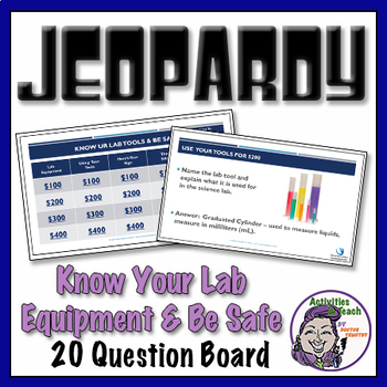 Lab Safety & Lab Equipment Jeopardy in PowerPoint - 20 questions game
