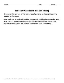 Lab Safety Menu Board