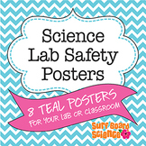 Lab Safety Posters with Turquoise Chevron Border
