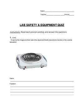 Lab Safety Quiz (Middle School Science)