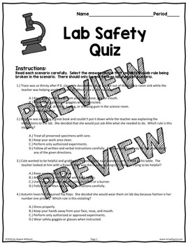 Lab Safety Quiz - Middle School Science {Back to School}