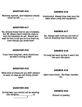 Lab Safety Quiz-Quiz-Trade