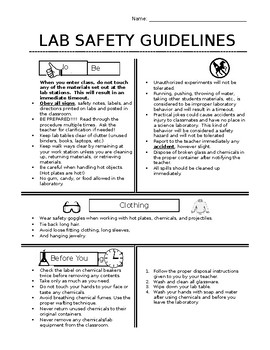 Lab Safety Reference Sheet