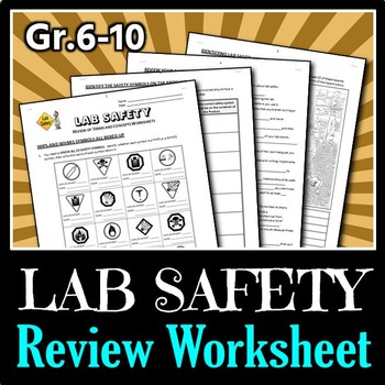 Lab Safety - Review Worksheets {Editable}