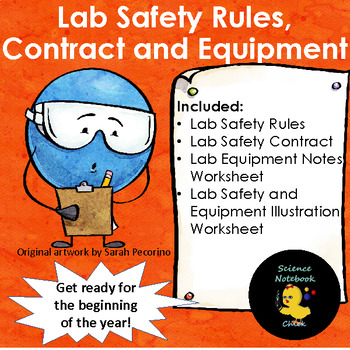 Lab Safety Rules, Contract and Equipment Worksheets