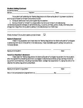 Lab Safety Rules Contract and Quiz