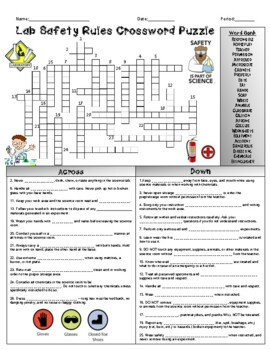 Lab Safety Rules Crossword Puzzle By Bearcat Science Tpt
