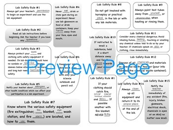 Lab Safety Rules Notebook Page and Game