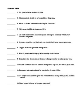 Lab Safety Rules and Test