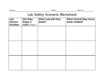 Lab Safety Scenario Worksheet