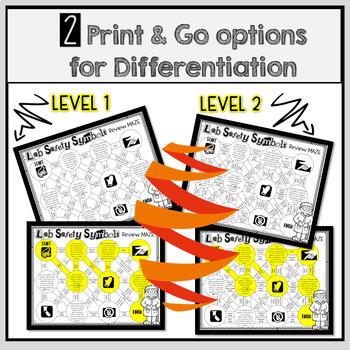 Lab Safety Symbols Maze Worksheet Differentiated Tpt