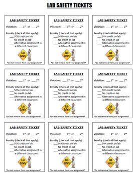 Lab Safety Tickets Pack