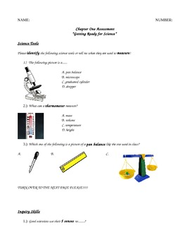 Lab Safety, Tools, and Scientific Method Modified Special Education Assessment