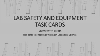 Lab Safety and Equipment Writing Task Cards for Secondary Science