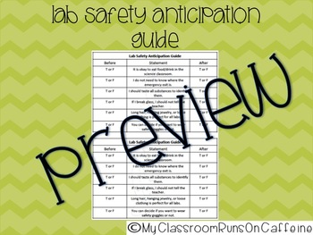 Lab Safety Anticipation Guide