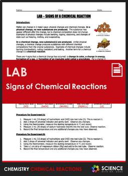 Lab - Signs of a Chemical Reaction